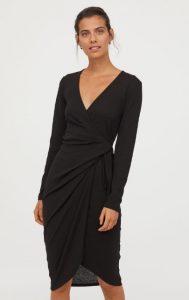 midi δετό φόρεμα με μακριά μανίκια
