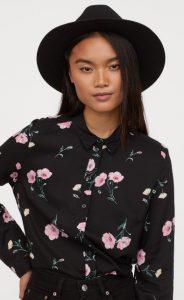 μαύρο floral γυναικείο πουκάμισο h&m χειμώνας 2020
