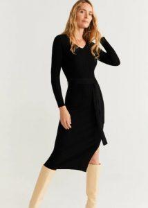 μαύρο φόρεμα με ζώνη