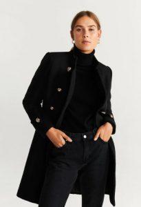 μαύρο μάλλινο παλτό με κουμπιά