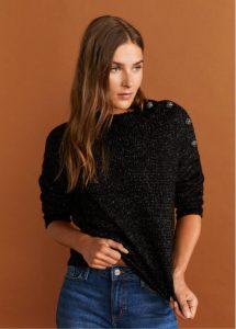 μαύρο πουλόβερ με κουμπιά