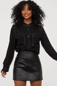 μαύρο χειμερινό τζιν γυναικείο πουκάμισο