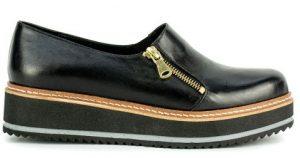 μαύρο δερμάτινο τύπου oxford γυναικείο παπούτσι
