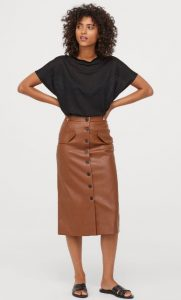 midi δερμάτινη φούστα με κουμπιά
