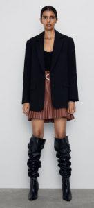 mini δερμάτινη φούστα με ζώνη