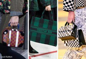 γυναικεία τσάντα με μοτίβο σκακιέρα