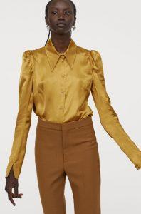 μουσταρδί σατέν γυναικείο πουκάμισο