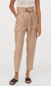 μπεζ paper bag γυναικείο παντελόνι
