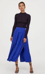 μάξι μπλε φούστα με σκισίματα