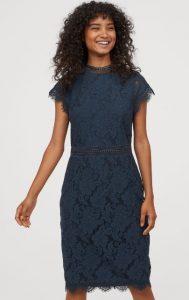μπλε φόρεμα για γάμο από δαντέλα