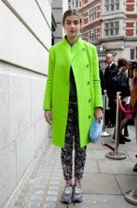 neon πράσινο παλτό ίσια γραμμή neon χειμώνα