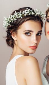 νύφη με έντονα φρύδια νυφικό μακιγιάζ χειμώνα