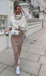 μπεζ πένσιλ φούστα άσπρο πλεκτό φορέσεις φθινόπωρο γραφείο