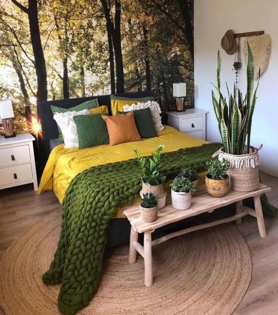 πλεκτή πράσινη κουβέρτα κρεβάτι διακόσμηση σπιτιού φθινόπωρο