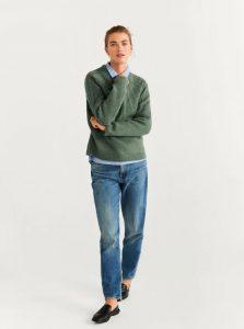πλεκτό λαδί πουλόβερ