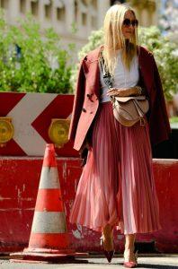 πλισέ ροζ φούστα σακάκι