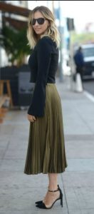 πλισέ χακί φούστα φορέσεις φθινόπωρο γραφείο