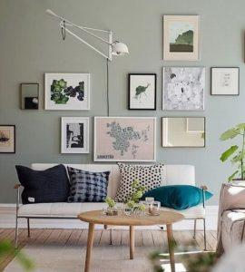 πράσινος τοίχος σαλονιού
