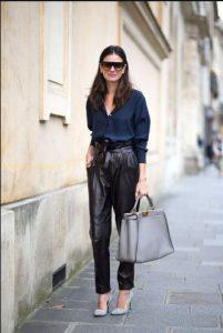 ψηλόμεσο παντελόνι μαύρο δερμάτινο