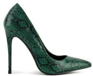 πράσινη snake print γόβα με πολύ ψηλό τακούνι