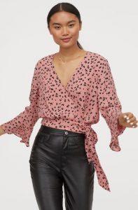 ροζ animal print κρουαζέ μπλούζα