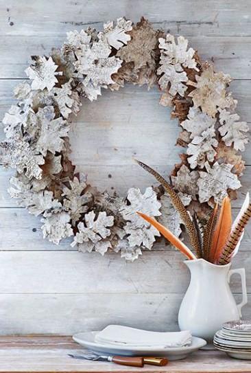 στεφάνια διακοσμητικό από φύλλα διακόσμηση σπιτιού φθινόπωρο