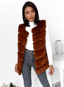 αμάνικο γουνάκι καφέ γυναικεία πανωφόρια χειμώνα