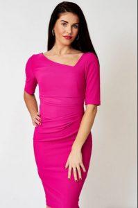 Φόρεμα ροζ με ασύμμετρη λαιμόκοψη