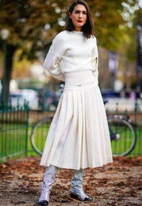 άσπρη φούστα άλφα γραμμή φούστα σωματότυπο