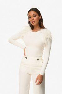 άσπρη μπλούζα πούπουλα zini χειμώνα