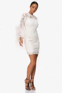 άσπρο φόρεμα δαντέλα zini χειμώνα