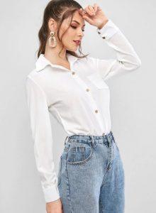 άσπρο κλασικό πουκάμισο τζιν παντελόνι
