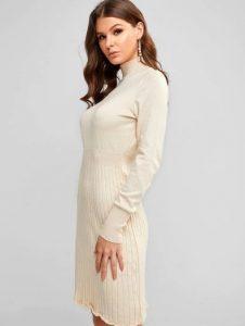 άσπρο ζιβάγκο φόρεμα μέχρι το γόνατο