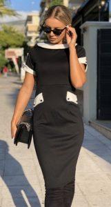 ασπρόμαυρο μίντι φόρεμα parizianista 2020