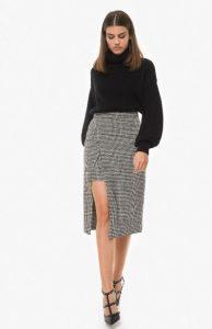 ασπρόμαυρη ασύμμετρη φούστα