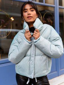 κοντό bomber μπουφάν γκρι γυναικεία πανωφόρια χειμώνα