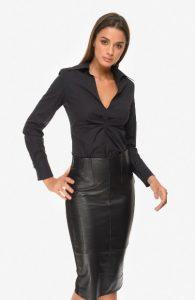 δερμάτινη pencil φούστα μαύρη zini χειμώνα