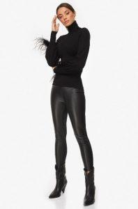 δερμάτινο μαύρο παντελόνι κολλητό