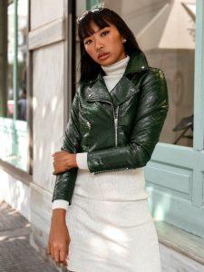 δερμάτινο πράσινο μπουφάν γυναικεία πανωφόρια χειμώνα