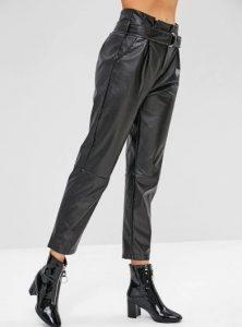 δερμάτινο ψηλόμεσο μαύρο παντελόνι