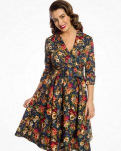Φλοράλ φόρεμα με ζώνη