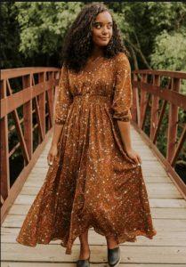 Φλοράλ μακρύ φόρεμα καφέ