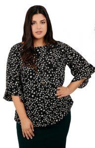 floral γυναικεία μπλούζα με βολάν xxxl μέγεθος