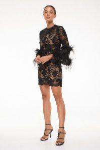 φόρεμα δαντέλα φτερά μαύρο