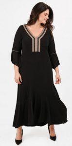 φόρεμα με βολάν V λαιμόκοψη