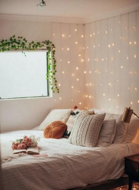 φωτάκια κρεβάτι οικονομικοί τρόποι ανανεώσεις υπνοδωμάτιο