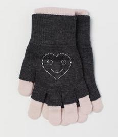 γάντια μαύρα ροζ παιδικά