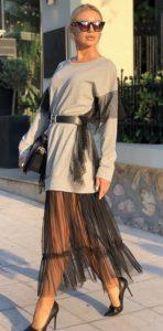 γκρι φούτερ φόρεμα με τούλι