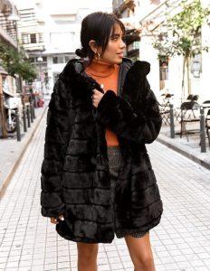 γούνα μαύρη μακριά γυναικεία πανωφόρια χειμώνα
