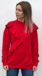 γυναικεία φούτερ μπλούζα με βολάν